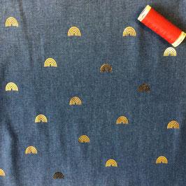Jeans  Regenbogen blau-gold
