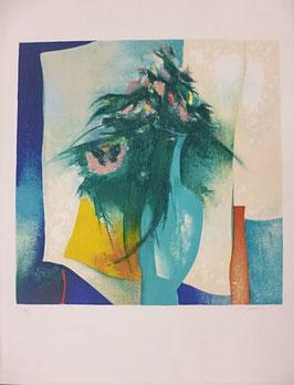 Claude Gaveau - Bouquet au vase bleu