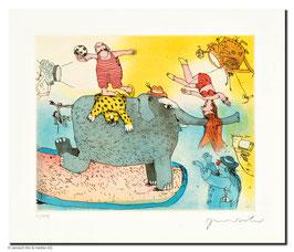 Janosch: Der Elefant steht hier im Licht, doch seinen Kummer sieht man nicht