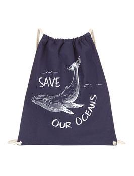 Mochila de cuerda algodón orgánico - Save our oceans