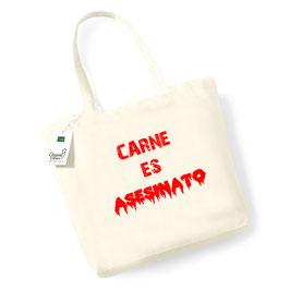 """Bolsa de compras de algodón orgánico """"Carne es Asesinato"""" Tinta roja"""