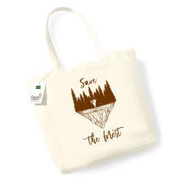 """Bolsa de compras de algodón orgánico """"Save the forest"""" tinta marrón"""