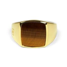 Signet Ring Gold Tiger Eye