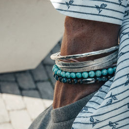 Round Bangle, Feather, Classic Sea & Classic Turquoise