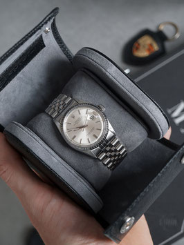 [Black] Handcrafted Watch Roll for 1 Watch