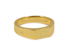 Signet Ring Raw Gold Thin