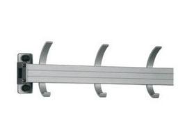 Wandgarderobe Typ 011, Stahlteile duplexiert Oberfläche anthrazit perlgrimm, Aluminiumteile farblos eloxiert