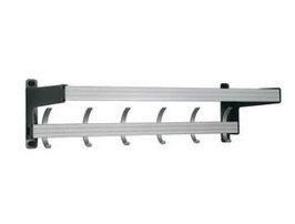 Wandgarderobe Typ 020, mit Effektablage, Stahlteile duplexiert oberfläche anthrazit perlgrimm, Aluminiumteile farblos eloxiert