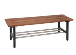 Freistehende Sitzbank, mit oder Ohne Schuhrost Typ 42, Stahlteile duplexiert, Oberfläche anthrazit perlgrimm, Aluminiumteile farblos eloxiert, Sitzbank aus Holz