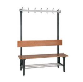Sitzbank mit Hakenleiste, mit oder ohne Schuhrost Typ 43, Stahlteile duplexiert Oberfläche anthrazit perlgrimm, Aluminiumteile farblos eloxiert, Sitzbank aus Holz