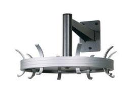 Rundgarderobe Typ 032.150 für Wandmontage drehbar, mit 8 Haken,  Stahlteile duplexiert Oberfläche anthrazit perlgrimm, Aluminiumteile farblos eloxiert