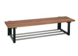 Sitzbank mit Wandkonsolen, mit oder ohne Schurost Typ 40, Stahlteile duplexiert Oberfläche anthrazit perlgrimm, Aluminiumteile farblos eloxiert, Sitzbank aus Holz
