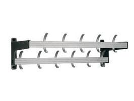 Wandgarderobe Typ 021, mit Effektablage, Stahlteile duplexiert oberfläche anthrazit perlgrimm, Aluminiumteile farblos eloxiert