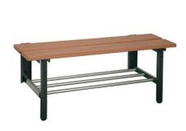 Sitzbank mit Wand- Bodenkonsolen, mit oder ohne Schurost Typ 41, Stahlteile duplexiert Oberfläche anthrazit perlgrimm, Aluminiumteile farblos eloxiert, Sitzbank aus Holz