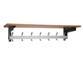 Wandgarderobe Typ 023, mit Effektablage aus Holz, Stahlteile duplexiert oberfläche anthrazit perlgrimm, Aluminiumteile farblos eloxiert