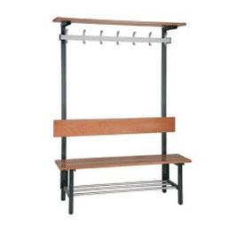 Sitzbank mit Hakenleiste, Effektenablage, mit oder Ohne Schuhrost Typ 45, Stahlteile duplexiert Oberfläche anthratiz perlgrimm, Aluminiumteile farblos eloxiert, Sitzbank aus Holz