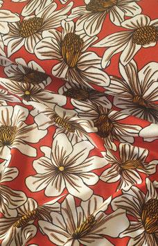 Viskosejersey - Rot mit Blumenprint