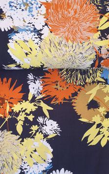 Viskosestoff - Navy mit buntem Blumenprint