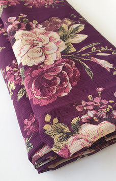 Chiffon - Lila / Blumen