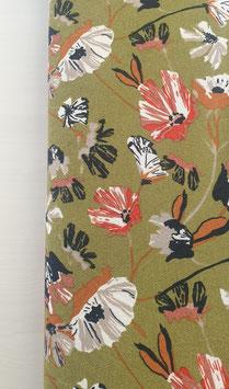 Viskosejersey - Grün mit Blumenprint