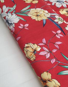 Viskose Crepe - Rot mit Blumenprint