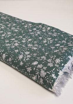 Viskosestoff mit Blumenprint - Grün