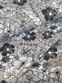Viskosejersey - Beige mit Blumenprint