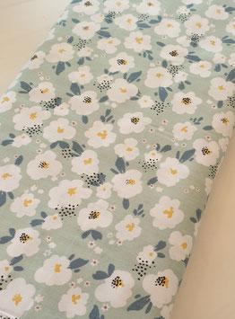 Baumwollstoff - Blumenprint Mint