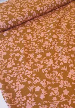Viskosestoff - Blumenprint Beige / Rosa