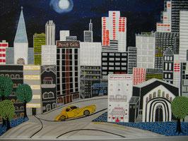 "Naive Kunst / Bilder /  Acryl figurativ: ""  a Ghostdriver in New York """