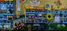 """Naive Kunst Collage:  """"  Insel der Glückseligen """""""