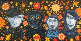 "Naive Kunst / Acryl figurativ:  ""  Bärenstarke Kinder """
