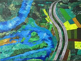 """Neo - Primitive Kunst /Acryl figurativ: """"  Auf der Autobahn """""""