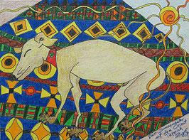 """Naive Kunst / Bild / Pastell figurativ:  """" Der Sonnenanbeter auf dem Orientteppich """""""