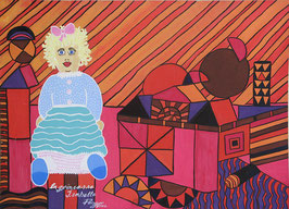 """Naive Kunst / Bild /Gouache / Aquarell figurativ:  """"  La Princesse Isabelle """""""