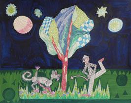 """Naive Kunst /Collage / Titel: """" Der Baum ist hier """""""
