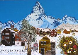 """Naive Kunst / Bilder / Acryl gegenständlich  """"  Wintergeister """""""