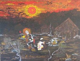 "Neo - Primitive Kunst / Acryl gegenständlich:    "" La dance du soleil """