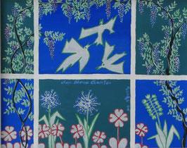 """Naive Kunst / Bild / Gouache / Aquarell gegenständlich:  """" Der blaue Garten """""""