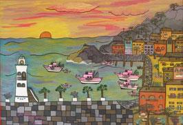 """Naive Kunst / Bilder / Gouache / Aquarell gegenständlich: """"  Die Fischer von Capri """""""