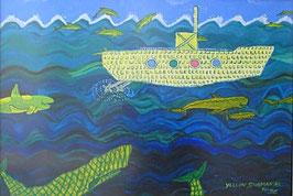 Naive Kunst / Bilder /Acryl gegenständlich:   Yellow Submarine
