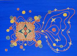 """Naive Kunst / Bild / Gouache / Aquarell figurativ:  """" Der Stern von Bethlehem """""""