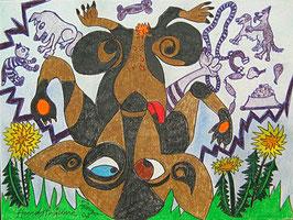 """Naive Kunst / Bild / Pastell figurativ: """"  Hundsträume """""""