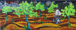 """Neo - primitive Kunst /Acryl figurativ: """"  Der Mann mit den Bäumen """"  inspiriert von Jean Giono"""