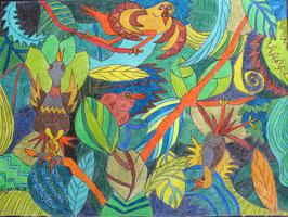 """Neo - Primitive Kunst / Pastell Farben figurativ:  """"  Ansteigendes, schluchzendes Grescendo der Nachtigallen """""""