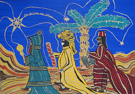 "Naive Kunst / Bild /Gouache / Aquarell figurativ: ""  Die drei heiligen Könige """