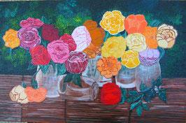 """Neo - Primitive Kunst /Acryl gegenständlich:  """"  Der Duft der Rosen """""""
