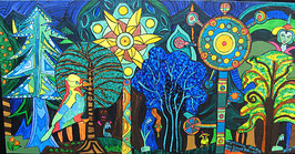 """Naive Kunst Collagen  """"  Im Wald der verzauberten Bäume """""""