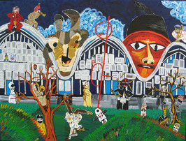 "Neo - Primitive Kunst / Acryl figurativ / Zentrum Paul Klee /  "" Klees Tanz der Puppen """