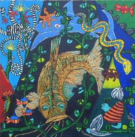 "Naive Kunst / Bild / Acryl figurativ:  ""  Deep water  """